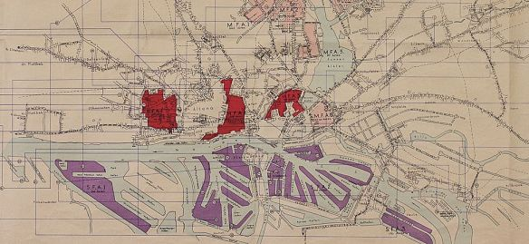 Fire Hazard map of Hamburg produced by the British in 1944. The red areas show the areas most susceptible to fire