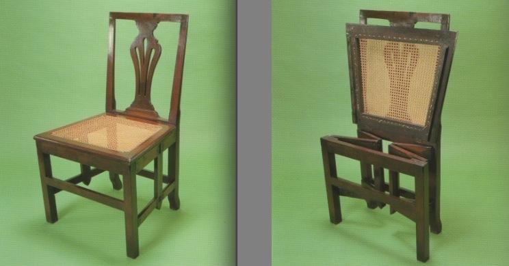 George III Caned Mahogany Folding Chair ...