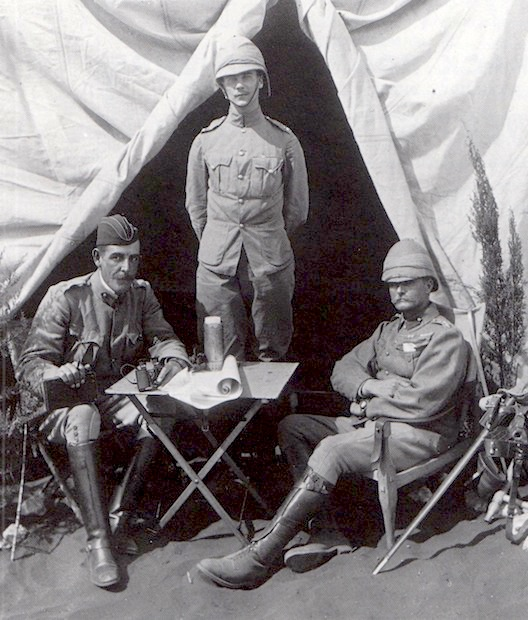 On Campaign During The Boer War, 1900. Major General R. Pole Carew , Right,  Is Seated In A Roorkhee Campaign Chair. National Army Museum, London