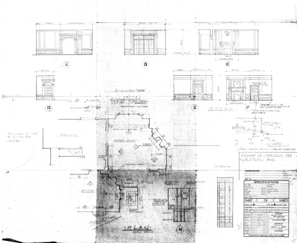 The set drawing for the Wayne Manor interior for the pilot episode.