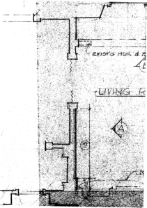 Plan detail showing walls at Elevation A. Note shaded and hatched walls.