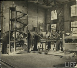 Carpenters building scenery at the UFA Studios in Berlin, 1928. (Photo by E. O. Hoppe