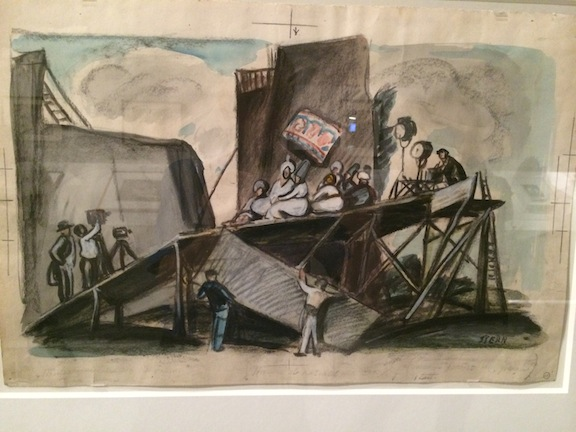 One of Ernst Stern's drawings for Waxworks, which indicates the set design, platforming, camera position and lighting.