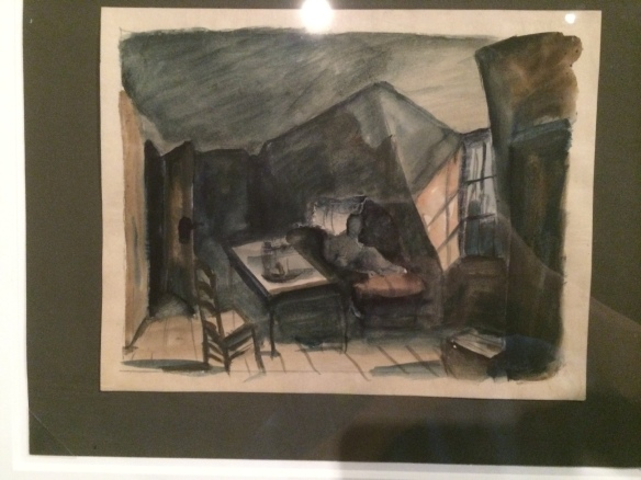A watercolor and charcoal drawing for one of the sets for Dr. Caligari by Walter Röhrig