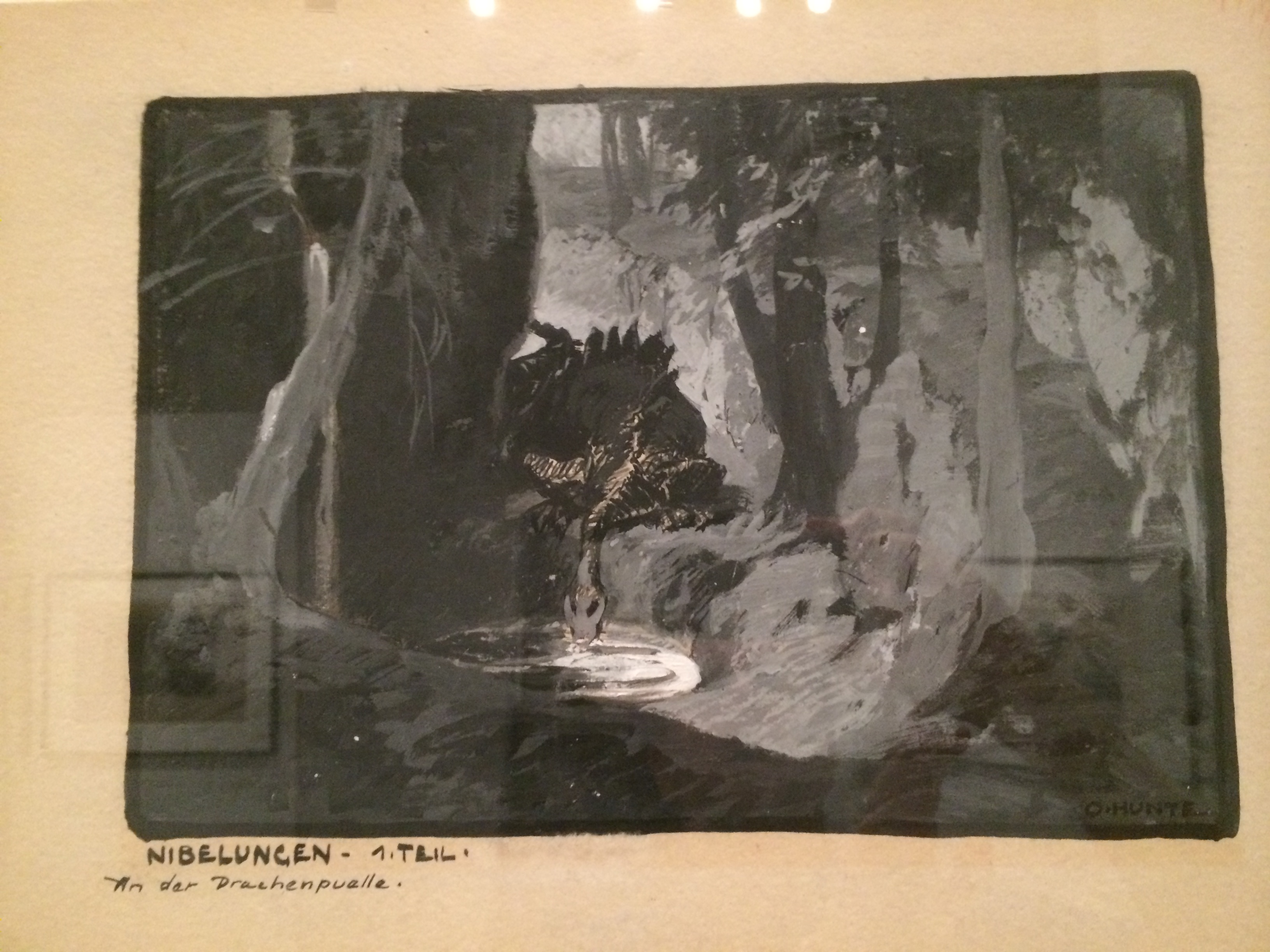 Gouache painting of the dragon for Die Nibelungen by Otto Hunte.