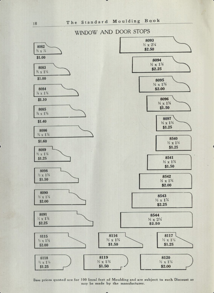 Stop profiles from a 1938 catalogue
