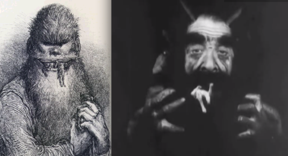 Left, one of Dorè's illustrations, on the right, Lucifer's depiction in the film.