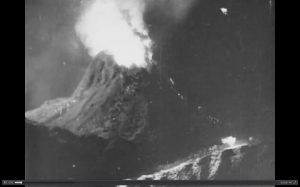 Foreground miniature of the eruption of Mt. Etna