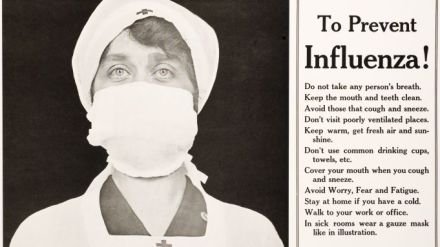 Spanish Flu Epidemic 1918-1919 in America. TO PREVENT INFLUENZA, a Red Cross nurse is pictured with